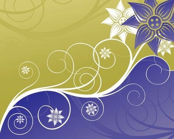Swirling Floral Blue Green Background - Free vector #337375