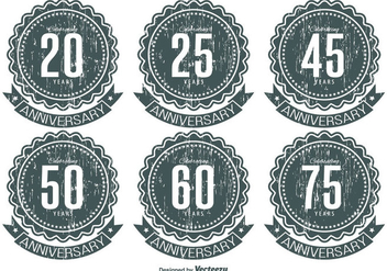 Grunge Anniversary Label Set - Free vector #337665