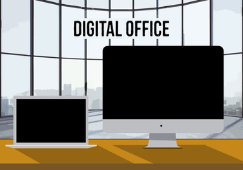 Free Digital Office Vector Background - Free vector #337695