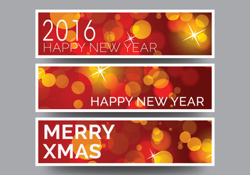 Vector new year banners - vector gratuit #337755