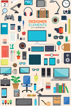 87 Office and designer icons element set - Free vector #337765