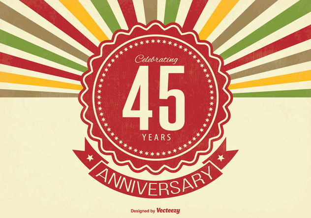 45 Year Retro Anniversary Illustration - vector #338075 gratis