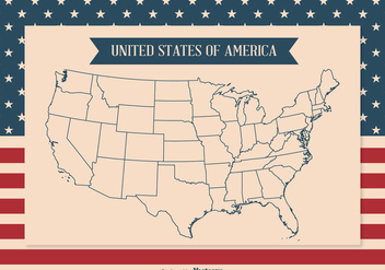 United States Map Outline Illustration - бесплатный vector #338145