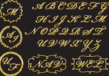 Golden Monograms - vector gratuit #338355