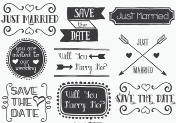 Hand Drawn Style Mariage Label Set - Kostenloses vector #338365
