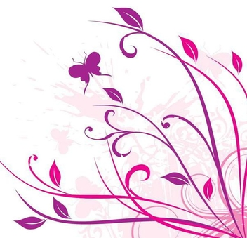 Swirling Floral Corner Butterfly - Kostenloses vector #338435