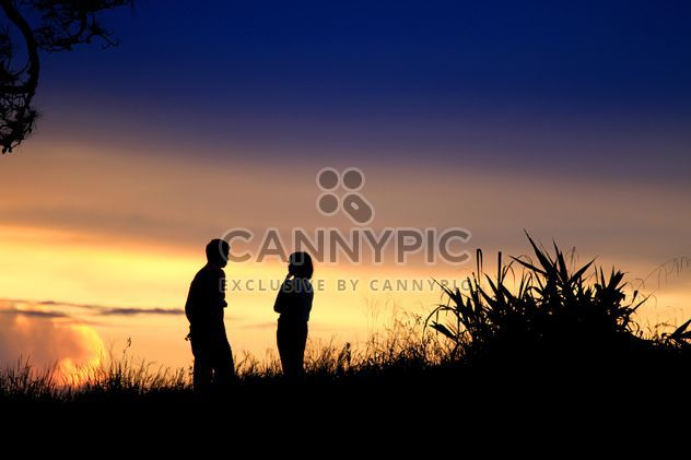 Silhouette of couple at sunset - image #338525 gratis