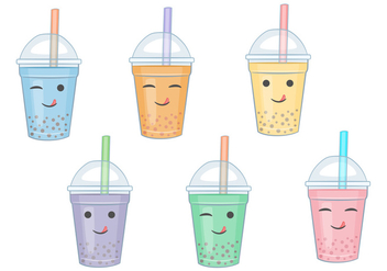 Bubble Tea Vector Cartoons - Kostenloses vector #338625