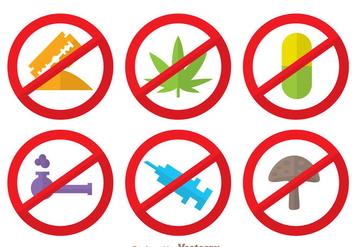 No Drugs Flat Colors Icons - vector gratuit #338695