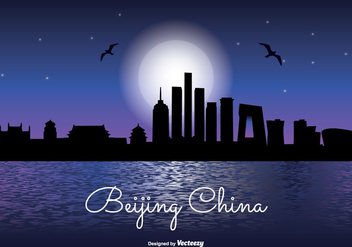 Beijing China Night Skyline Illustration - Free vector #338805