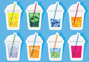 Bubble Tea Stickers - Free vector #338815