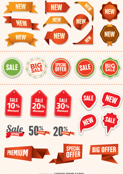 Promo badges and labels - vector gratuit #338855