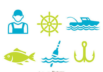 Fishing Element Icons - vector gratuit #339325