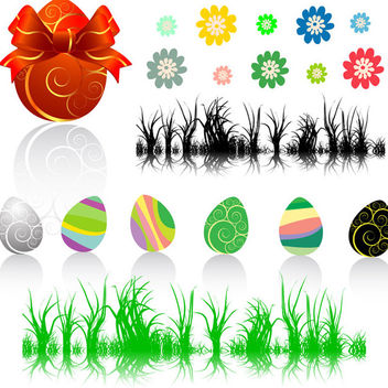 Easter collection - eggs, flowers and grass - Kostenloses vector #339665