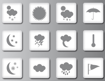 Weather icons or buttons - vector gratuit #339705