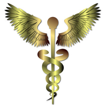 Gold Medical Caduceus Sign - Free vector #339775