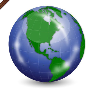 Shiny Vector Earth Globe - vector gratuit #339985