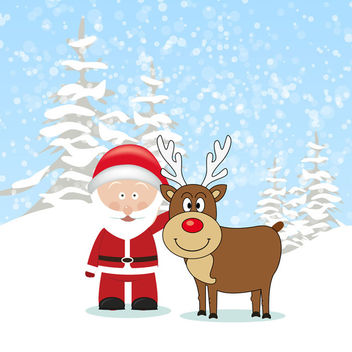 Reindeer with Santa - Free vector #340775