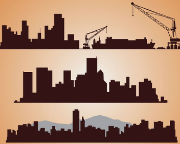 Industrial Cityscape Silhouettes - Free vector #340995