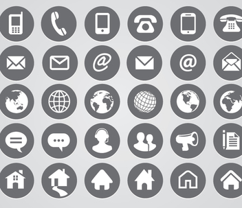 Rounded Contact Icons - vector gratuit #341035