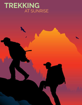 Men Trekking Mountain - Free vector #341065