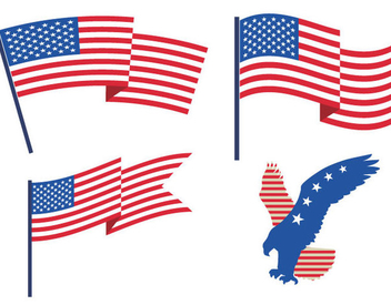 USA Flags Eagle - Free vector #341095