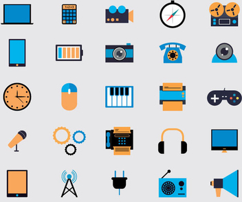 Flat Multimedia Icons - Free vector #341165