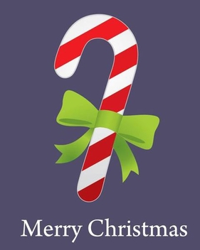 Christmas Candy Cane with Ribbon - vector gratuit #341195