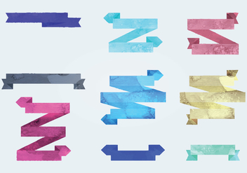 Vector Watercolor Ribbons - бесплатный vector #341415