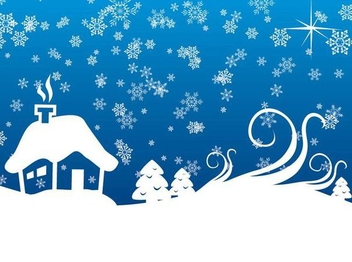 Snowy Christmas Landscape Background - vector gratuit #341425