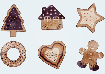 Watercolor Vector Christmas Cookies - бесплатный vector #341565