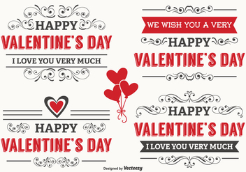 Typographic Valentine's Day Labels - Kostenloses vector #341625