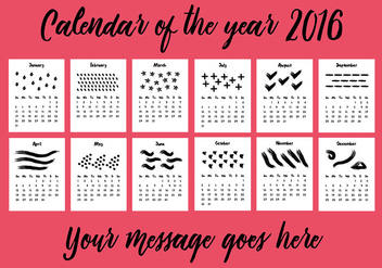Free 2016 Calendar Vector Background - vector #341645 gratis