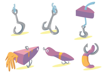 Fish Hook Vector Set - vector gratuit #341655