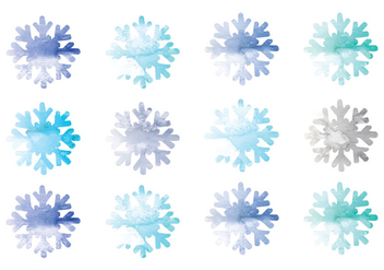 Vector Watercolor Snowflakes - Free vector #341745