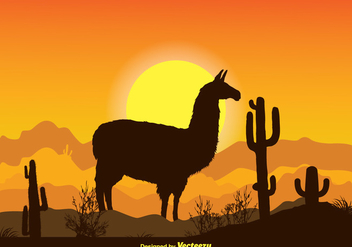 Landscape Alpaca Scene Illustration - Free vector #341775