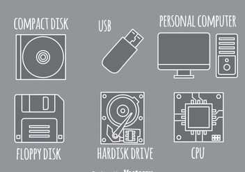 Computer Gray Icons - vector #341915 gratis