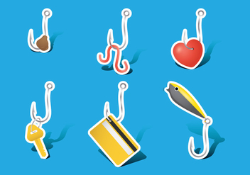 Fish Hooks with Lures - vector gratuit #341995