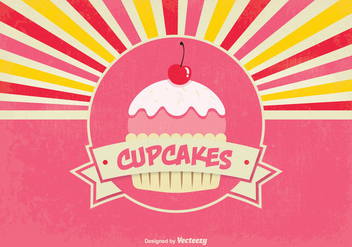 Cute Retro Style Cupcake Background Illustration - Free vector #342255