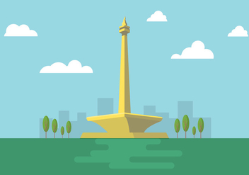 Free Vector Illustration of Indonesian National Monument Monas - Free vector #342375