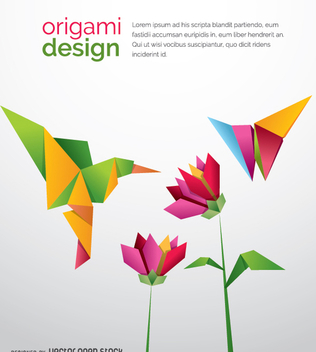 Origami Humming bird with flowers and butterfly - vector gratuit #342425