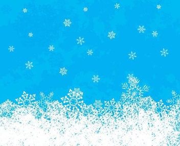 White Snowflakes Blue Background - vector #342435 gratis