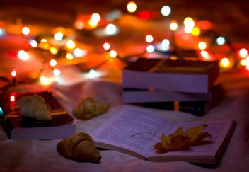 A cozy blanket and books croissants - image gratuit #342485
