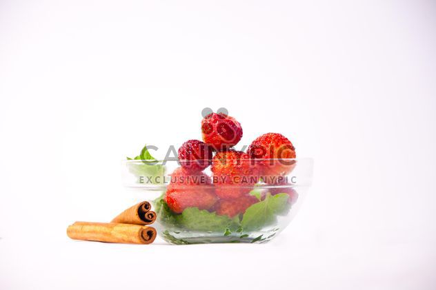 Fresh strawberry with mint and cinnamon on white background - Free image #342515