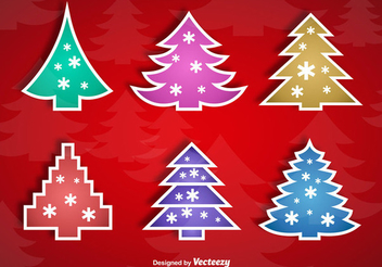 Colorful Christmas Tree Sticker Set - vector gratuit #342795