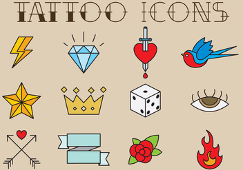 Old Style Tattoo Icons - Free vector #343085
