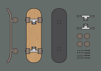 Vector Skateboard Illuustration Set - Free vector #343185
