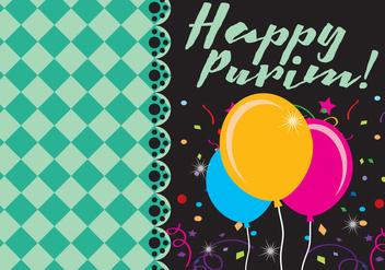 Happy Purim Card - vector #343325 gratis