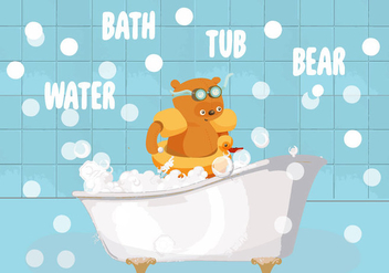 Free Bath Tub Bear Vector Illustration - vector gratuit #343395