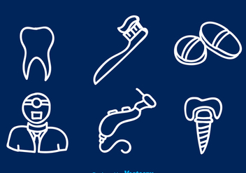 Dental White Line Icons - Free vector #343425